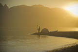 Sunset, Father & Son Beach Camping W/Kayak Photographic Print by Stephen Simpson