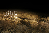 Lights Trails Spelling Love in Field at Night Photographic Print by Jan Stromme