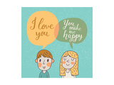 Cute Vector Card with Boy and Girl in Love. Romantic Background with I Love You Lettering. You Make Poster by  smilewithjul