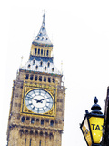Big Ben and Taxi Sign in Snowy London, UK Photographic Print by Doug Armand