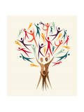 Diversity People Tree Set Print by  cienpies