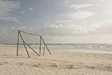 Wooden Soccer Net on Beach Photographic Print by  Bailey