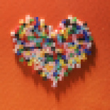 Colorful Pixelated Heart Photographic Print by Mimi Haddon