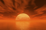 Rising or Setting Sun and Clouds, over Water Photographic Print by Harald Sund