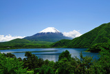Mount Fuji and Lake Motosu-Ko in Early Summer Photographic Print by  Takeshi.K