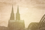 Retro Style View of Gothic Cathedral in Cologne, Germany Posters by  ilolab