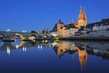Historic Regensburg Illuminated at Dusk. Photographic Print by Martin Ruegner