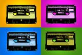 Audio Cassette Tapes Bright Pop Art Print Poster - Poster