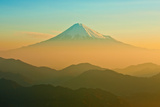 Mt. Fuji in Orange Morning Mist Photographic Print by  huayang