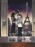 Paris Kiss Print by Brent Heighton