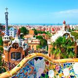 Barcelona, SPAIN - JULY 19: Ceramic Mosaic Park Guell on July 19, 2013 in Barcelona, Spain. Park Gu Posters by  Vladitto