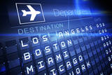 Digitally Generated Blue Departures Board for American Cities Photographic Print by Wavebreak Media Ltd