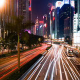 Light Trails, Gloucester Road, Hong Kong Photographic Print by Matthew Dallow