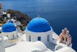 Blue Domed Churches, Oia, Santorini, Greece Photographic Print by Sylvain Sonnet