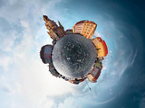 Spherical Panorama of City of Dresden in a Form of Little Planet Prints by Dudarev Mikhail