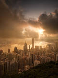 Vctoria Peak with Ray of Light Photographic Print by coolbiere photograph