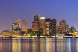 Boston Downtown Skyline Panorama with Skyscrapers over Water with Reflections at Dusk Illuminated W Photographic Print by Songquan Deng