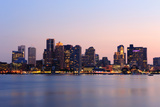 Boston Downtown at Dusk with Urban Buildings Illuminated at Dusk after Sunset. Prints by Songquan Deng