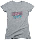 Juniors: Happy Days - Distressed V-Neck T-Shirt
