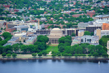 Boston Massachusetts Institute of Technology Campus with Trees and Lawn Aerial View with Charles Ri Poster by Songquan Deng