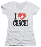 Juniors: Happy Days - I Heart Chachi V-Neck T-Shirt