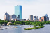 Boston Back Bay with Sailing Boat and Urban Building City Skyline in the Morning. Posters by Songquan Deng