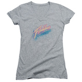 Juniors: Flashdance - Spray Logo V-Neck T-Shirt