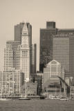 Boston Downtown Architecture Closeup in Black and White over Sea. Photographic Print by Songquan Deng