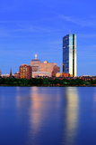Boston Charles River at Dusk with Urban City Skyline and Light Reflection Print by Songquan Deng