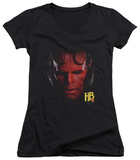 Juniors: Hellboy II - Hellboy Head V-Neck T-shirts