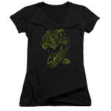 Juniors: Jurassic Park - Rex Mount V-Neck T-shirts