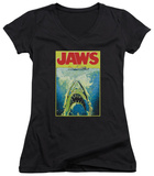 Juniors: Jaws - Bright Jaws V-Neck T-Shirt