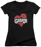 Juniors: Grease - Heart V-Neck T-Shirt