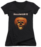 Juniors: Halloween II - Pumpkin Shell V-Neck T-Shirt