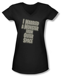 Juniors: I Married a Monster From Outer Space - Title V-Neck T-Shirt