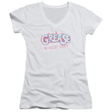 Juniors: Grease - Grease Is The Word V-Neck T-Shirt