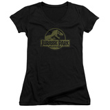Juniors: Jurassic Park - Distressed Logo V-Neck T-Shirt