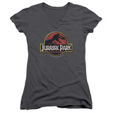Juniors: Jurassic Park - Stone Logo V-Neck Womens V-Necks