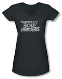Juniors: Invasion of the Body Snatchers - Distressed Logo V-Neck T-Shirt
