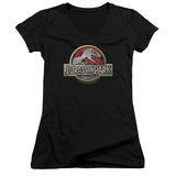 Juniors: Jurassic Park - Logo V-Neck T-shirts