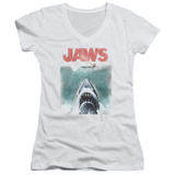 Juniors: Jaws - Vintage Poster V-Neck T-shirts