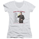Juniors: Monk - Top 10 Phobias V-Neck Womens V-Necks