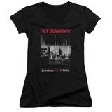 Juniors: Pet Semetary - Cat Poster V-Neck T-shirts