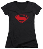Juniors: Man Of Steel - Red Glyph V-Neck T-shirts