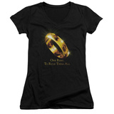 Juniors: Lord Of The Rings - One Ring V-Neck T-shirts