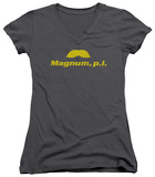 Juniors: Magnum P.I. - The Stache V-Neck T-shirts