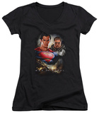 Juniors: Man Of Steel - Kal El And Zod V-Neck T-shirts