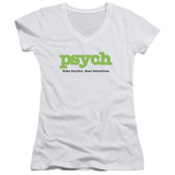 Juniors: Psych - Title V-Neck T-shirts