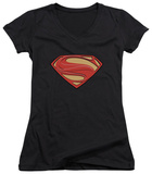 Juniors: Man Of Steel - New Solid Shield V-Neck T-shirts