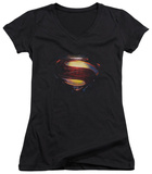 Juniors: Man Of Steel - Grungy Shield V-Neck Shirts